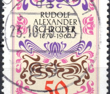 Scan: gebrauchte, gestempelte Briefmarke aus Deutschland von 1978, mehrfarbig, zu Ehren vonRudolf Alexander Schröder mit dem Nennwert 50 Pf.