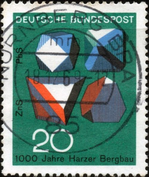 Scan/Informationen:Briefmarke aus der Bundesrepublik Deutschland,Deutsche Bundespost, von 1968, Titel: Technik & Wissenschaft - 1000 Jahre Harzer Bergbau - Nennwert 20 Pf.