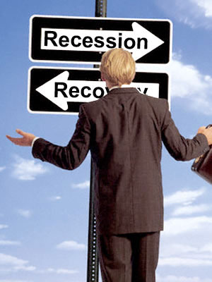 Recession and Recovery Road Signs