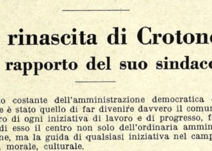 """Miniatura per l'articolo intitolato:La """"Rinascita di Crotone"""" nel 1952"""