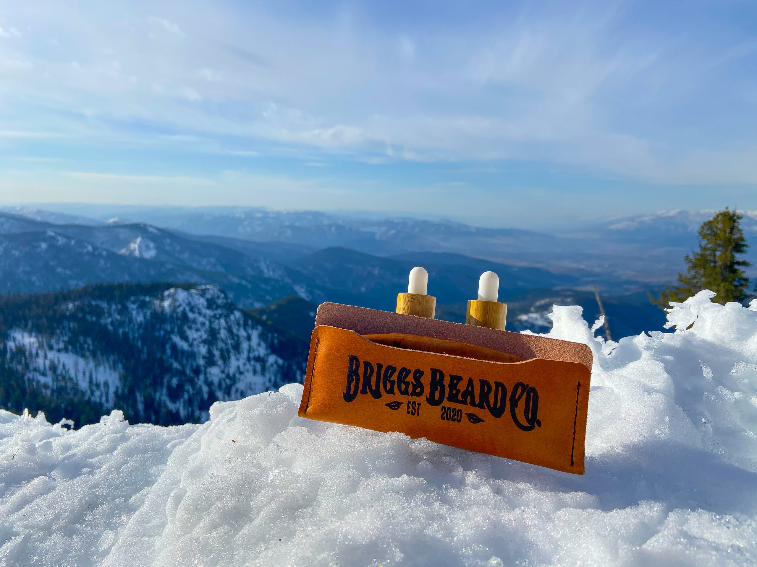 Briggs Beard Essentials Kit with a mountain view