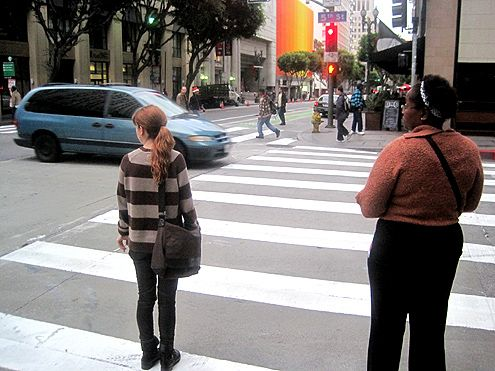 "New ""zebra crossings"" were installed this week at 5th and Spring in Downtown LA"