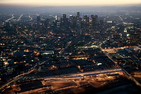 Another aerial view of the One Santa Fe project (below) in relation to the Downtown LA skyline (Photo: Michael Maltzan)