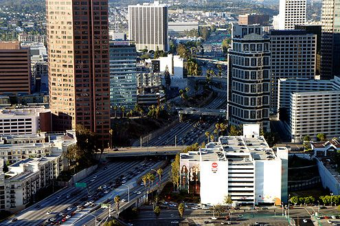 Two barren overpasses (Wilshire Blvd and 7th Street) are the only connections between City West (left) and the Financial District (right)