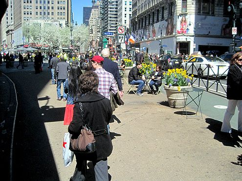 Pedestrians now roam on what was once Broadway