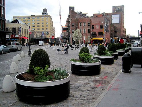 More planters and bollards in another section of the Gansevoort Plaza illustrate how easy it is to reclaim space from streets for people