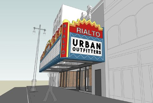 A rendering of the restored marquee, which Urban Outfitters will use to incorporate as part of their store signage (Photo: Curbed LA)