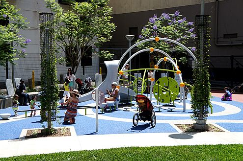 The playground was an instant hit with downtown parents and their kids