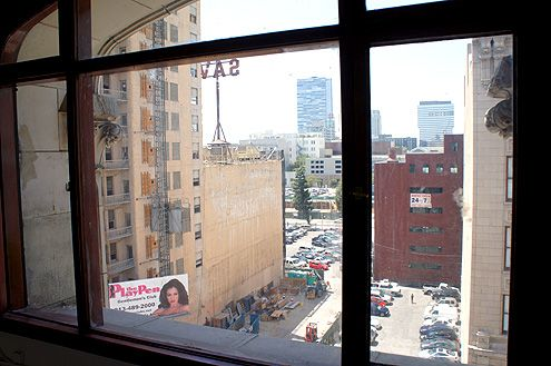 A view from the seventh floor from Sparkle Factory's corporate headquarters with a view of the future Ace Hotel across the street (on the left)