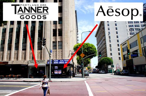 Two very exciting retailers, Tanner Goods and Aesop, will take up the corner of the beautiful art deco Ninth and Broadway building in Downtown LA