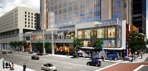 A new vantage point revealed in this rendering of the Hope Street side with an updated Sheraton Hotel entrance