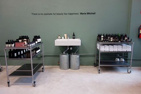Try out Aesop skin care products in the store