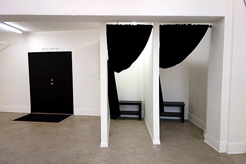 Ultra-modern black and white carried even into the changing rooms