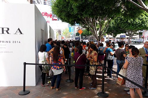 Hundreds waited in line to be one of the first to experience the new largest Downtown LA H&M store in Southern California