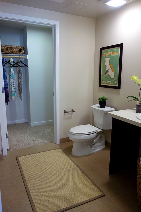 Large bathrooms and walk-in closets inside the studios