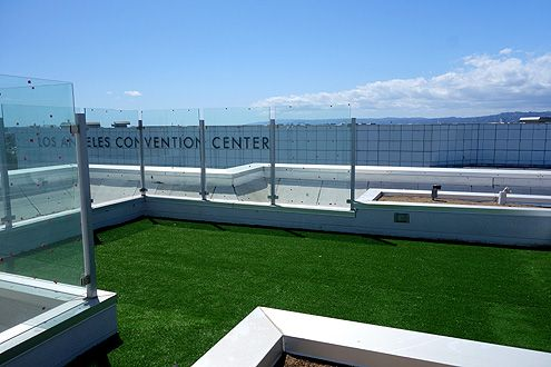 The dog run on the rooftop deck
