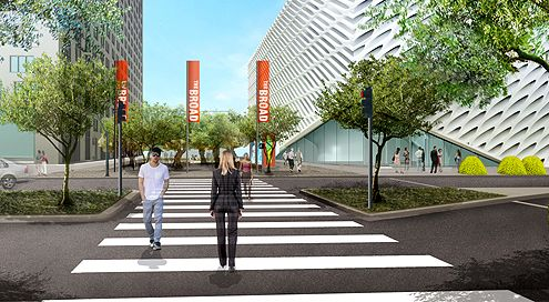 Encouraging pedestrian activity and convenience with a new crosswalk and landscaped median along Grand Ave connecting The Broad to MOCA and Colburn School