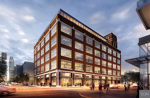 An exterior facade rendering showing a fully renovated and activated Desmond with future ground floor businesses facing the street level (Photo: SOM)