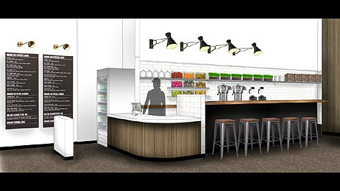 A rendering of Green Grotto interior with juice bar counter and seating