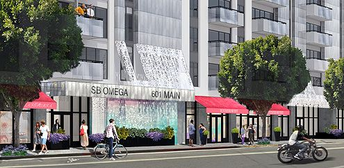 The front of SB Omega with retail store fronts along Main Street seen here