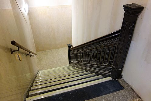 The original banisters in the stairwell have been restored
