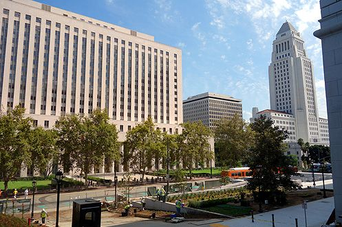 The Hall of Justice sits nearby other grand civic structures within the civic center including LA City Hall and the US Courthouse