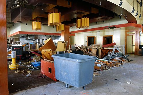 A peek inside the large 8,120 square foot space as demo work begins