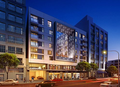 """A rendering of Topaz on the Los Angeles Street side with a large """"light curtain"""" seen in the center cutout of the building (Photo: TSK)"""