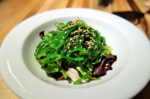Seaweed salad as a side dish is recommended