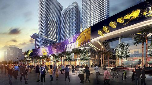 What it'll look like standing on Figueroa at Staples Center when Fig Central is completed (Photo: Oceanwide)