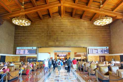 The grand waiting room fully restored with new digital info screens for arrivals and departures for Amtrak and Metrolink