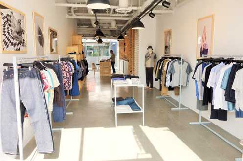 The 300 square foot pop-up shop within a shop carries short-term brand collaborations