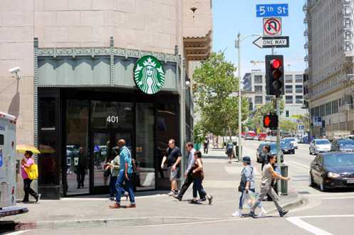 A brand new Starbucks opened last Friday at 5th and Hill at the historic Title Guarantee Building in Downtown LA