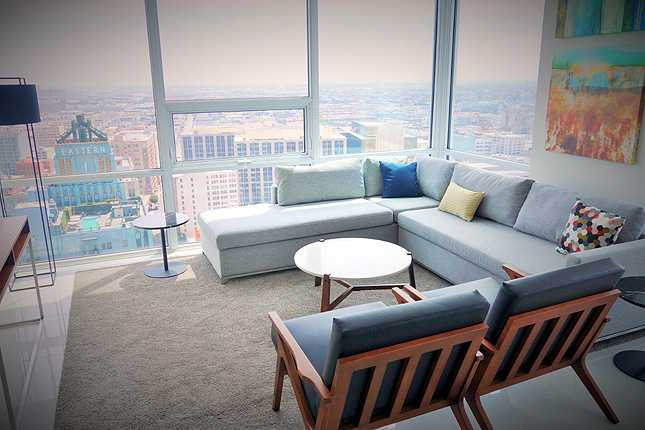 Another example of a living room with lovely city views