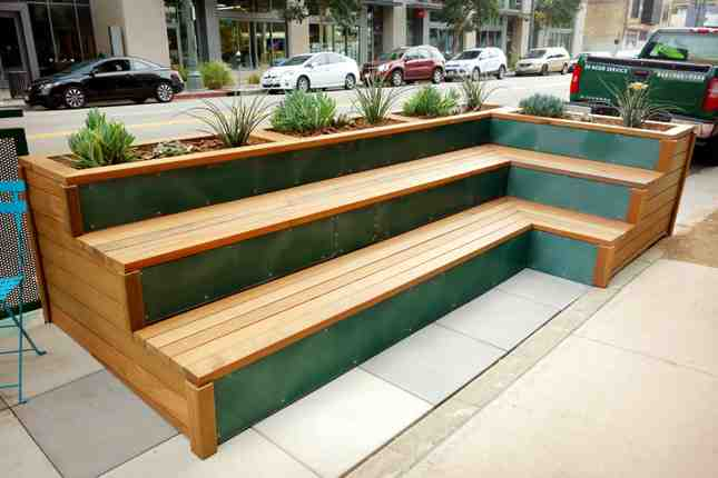 Sustainable-sourced wood used to make these benches in the parklet