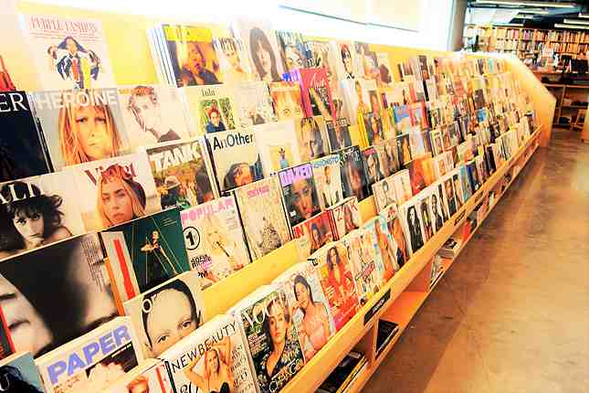 The huge magazine section covering all things art and design related