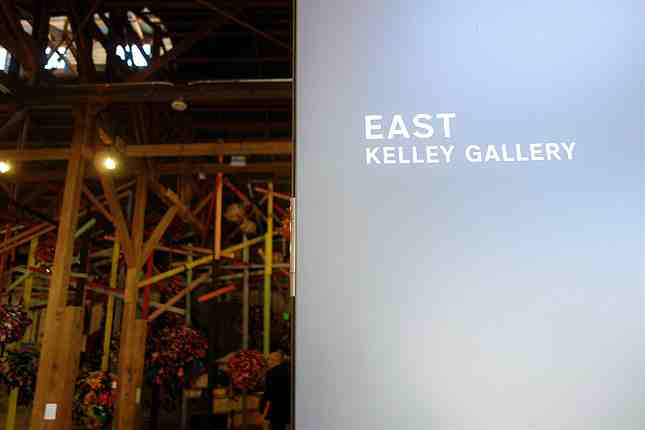 "The East Kelley Gallery, or ""the barn,"" houses various artworks"