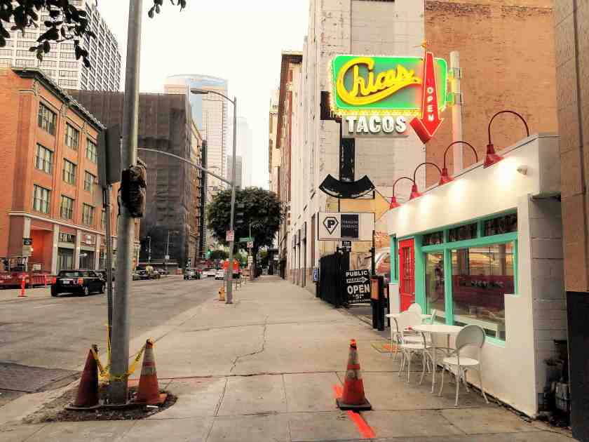 Chicas Tacos' eye-catching facade has enlivened the desolate block along Olive Street