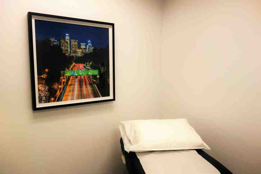 Love it: Reliant Urgent Care shows its DTLA pride with a beautiful picture of Downtown LA in every exam room