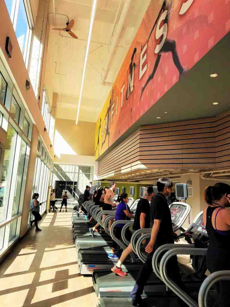 Cardio is on the Flower Street level with expansive windows facing the street helping to keep The Bloc transparent
