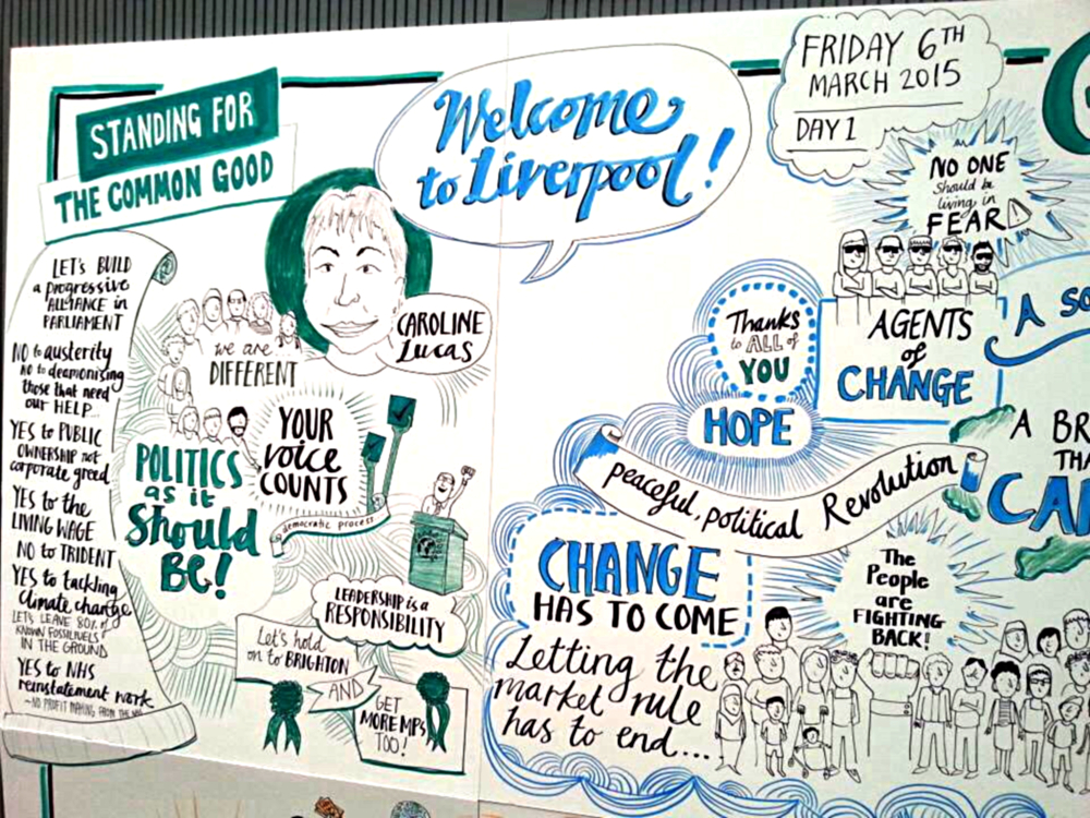 Live illustration of sessions at the Green Party Spring Conference.