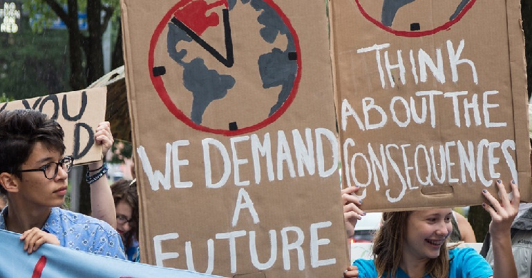 Climate change protest placards