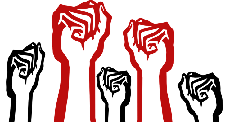 Drawing of a group of raised fists