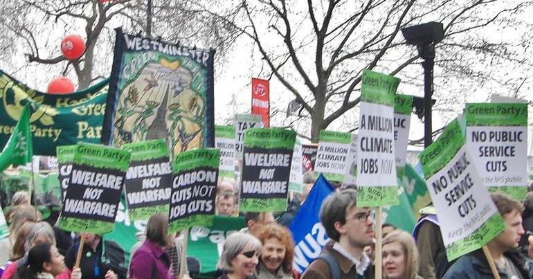 Green Party activists on an anti-austerity demonstration
