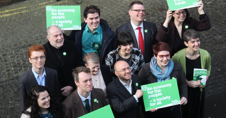 Scottish Green Party activists at a campaign launch