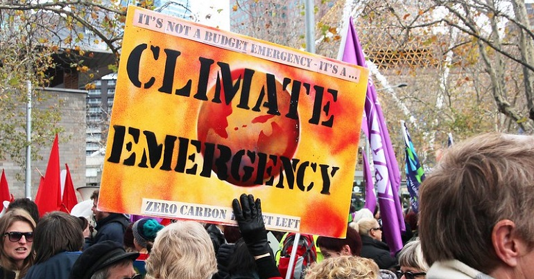 Climate emergency placard