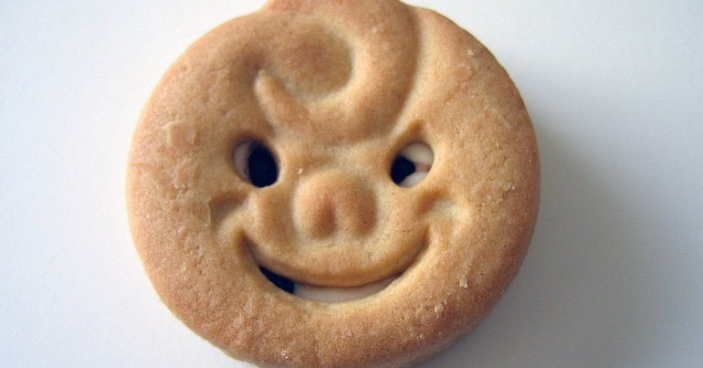 A biscuit with a happy face