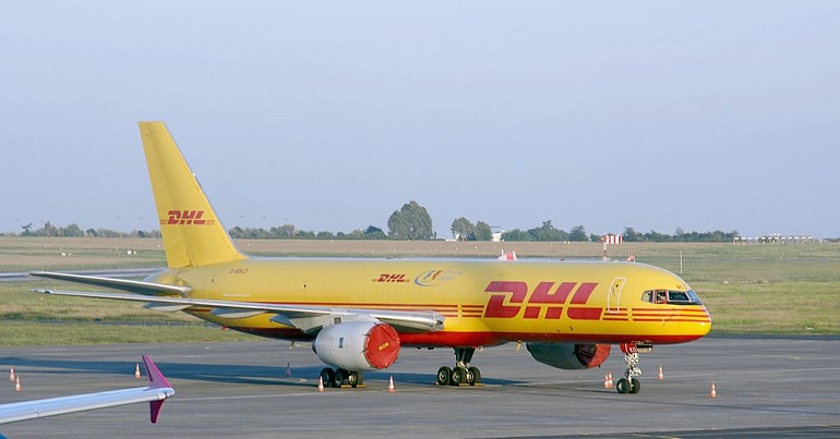 A photo of a DHL cargo plane