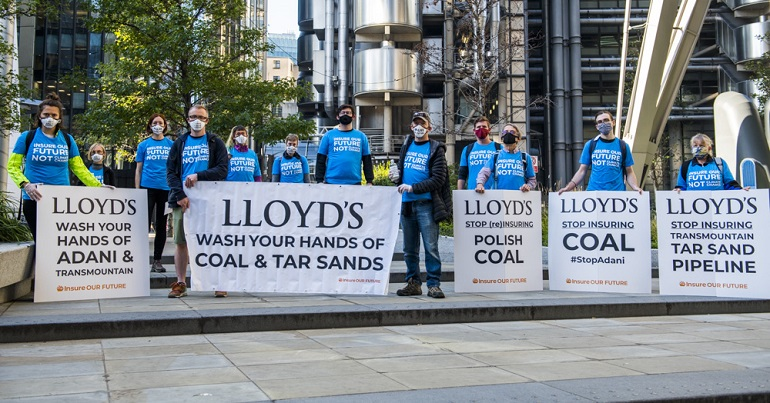 Climate protesters outside Lloyds of London
