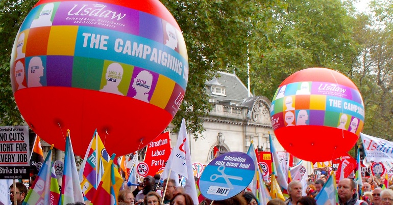 USDAW balloons on a demonstration